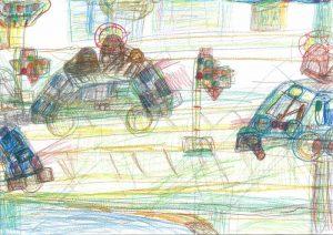 Gezeichnete Autos die auf der Straße fahren.