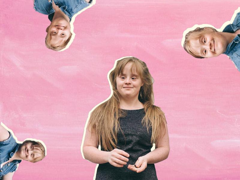 Collage mit Fotos von Hanna Gugler auf pinkem Hintergrund
