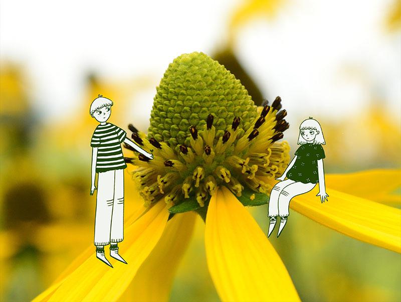 Zwei gemalte Personen sitzen auf einer Blume.