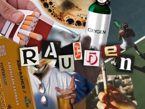 Eine Collage von Zigaretten, Alkohol und Kaffee.