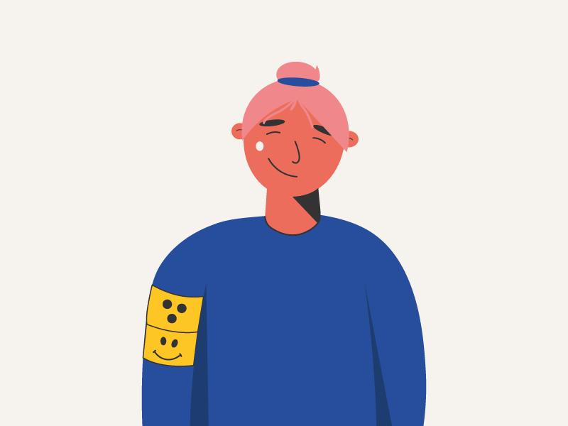 Eine gemalte Person lächelt und trägt ein Blindenzeichen auf dem Oberarm.