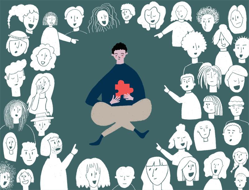 Ein gezeichneter Junge sitzt in der Mitte des Bildes. Rundherum lachen ihn Menschen aus und zeigen mit den Fingern auf ihn.