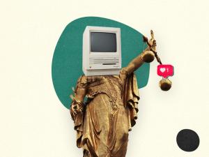 Collage: Freiheitsstatue mit Computer statt Kopf