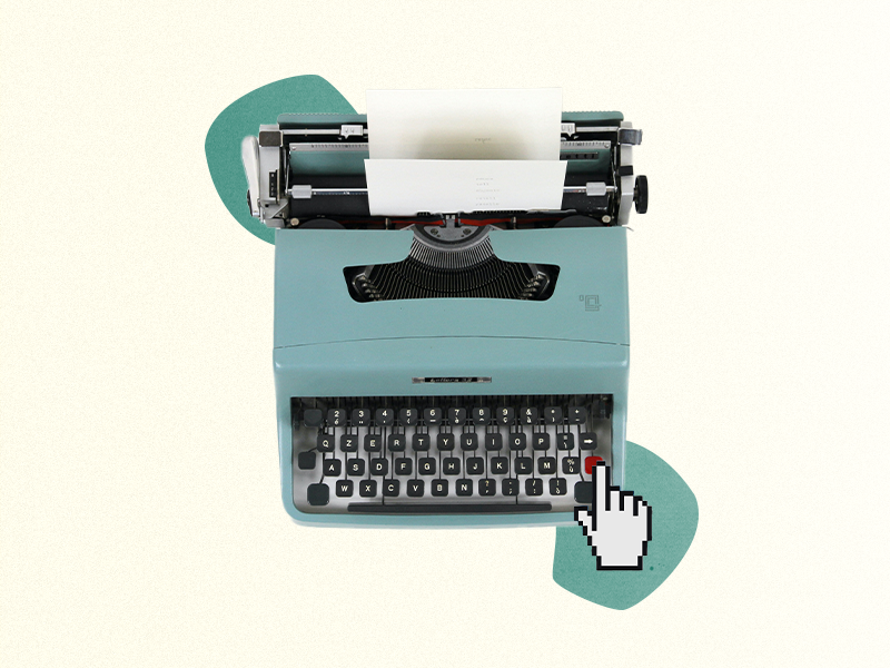 Collage: Schreibmaschine mit HAnd-Curser