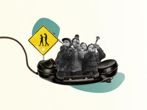 Collage: bilder von Kindern in Telefon