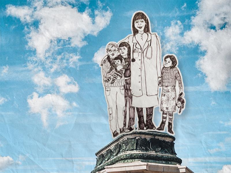 Denkmal: eine Frau in Arztkittel mit vier Kindern neben ihr, gezeichnet auf den Sockel eines Denkmals
