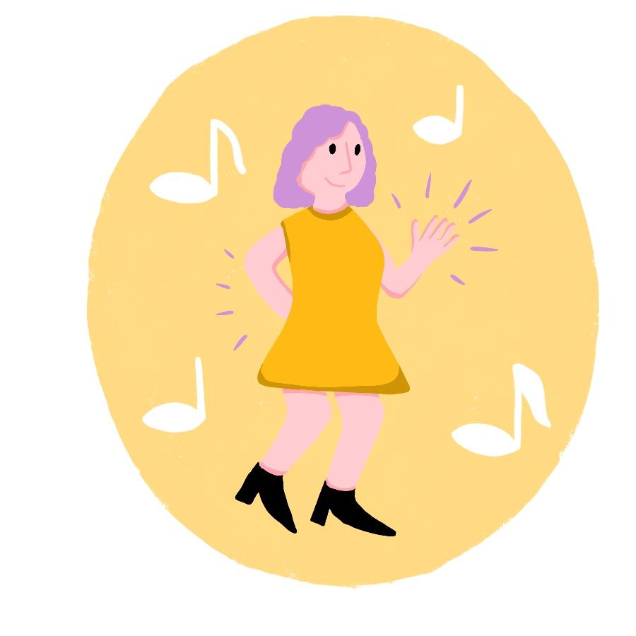 Illustration: Eine tanzende Frau. Um sie sind Musiknoten zu sehen.