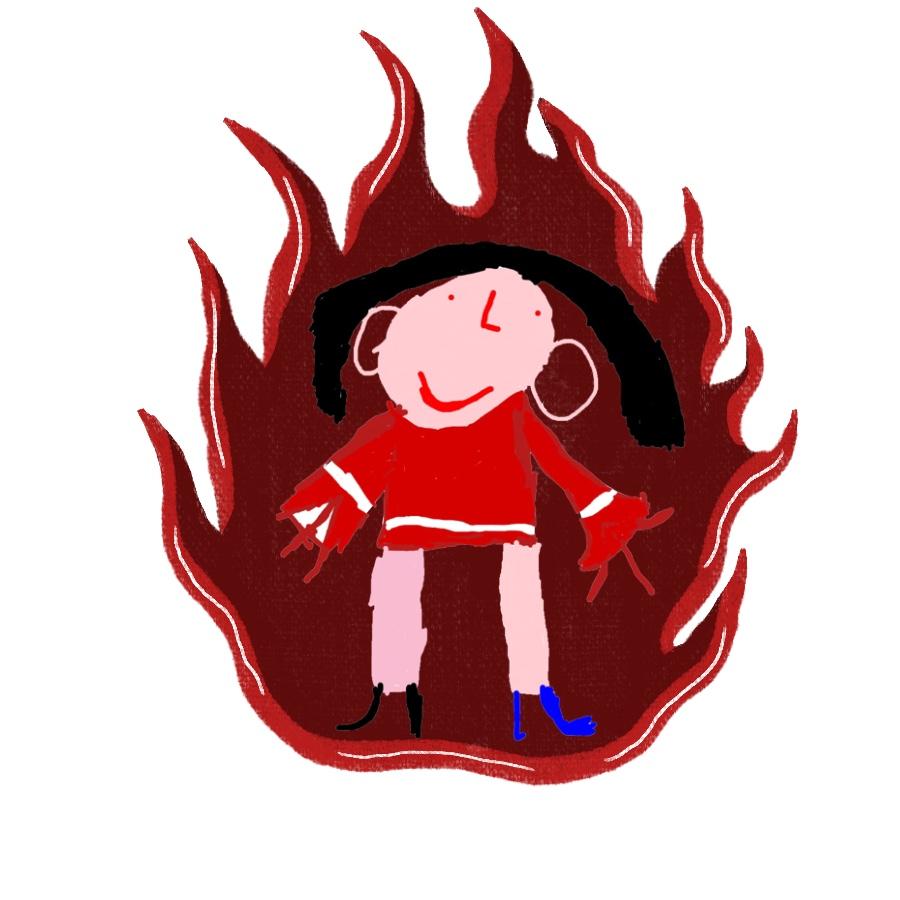 Illustration: Eine Frau in rotem Gewand steht in einem Feuer und lächelt