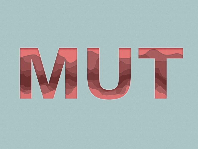 Illustration Mut in Schriftzug rot auf blauem Hintergrund