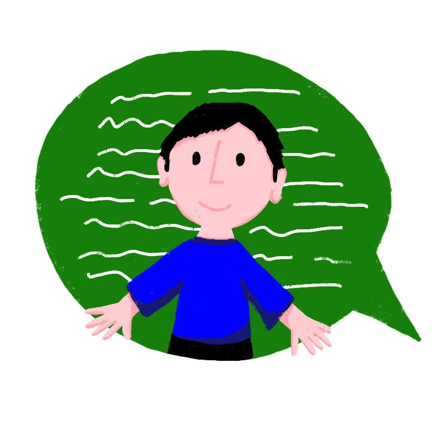 Illustration: Ein Mann vor einer großen Sprechblase