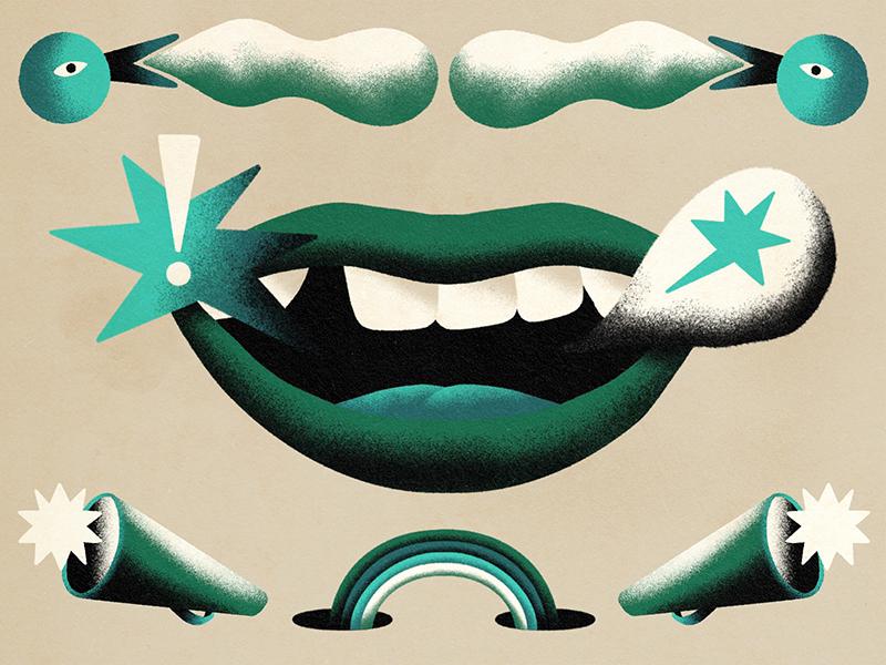 Illustration Mund in Grün mit zwei Sprachblasen darunter zwei megaphone und ein Regenbogen