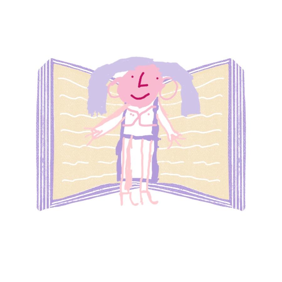 Illustration: Eine grauhaarige Frau mit Stöckelschuhen steht vor einem großen Buch und lächelt