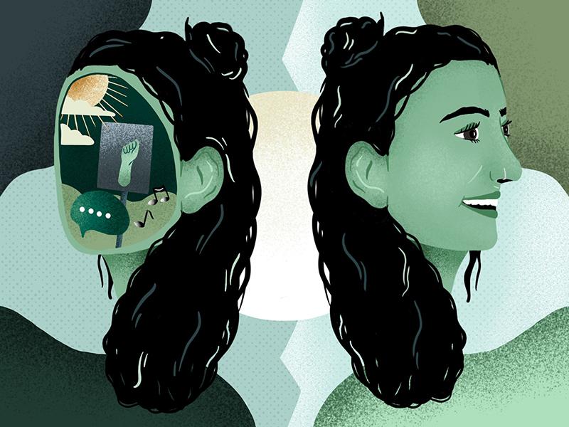 Beitrags-Illustration: Eine junge Frau ist zweimal gespiegelt zu sehen. Rechts lächelt sie. Links liegen über ihrem Gesicht eine Sprechblase, Musiknoten und ein Demoschild